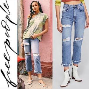 🆕 Free People Light Wash Distressed Jeans